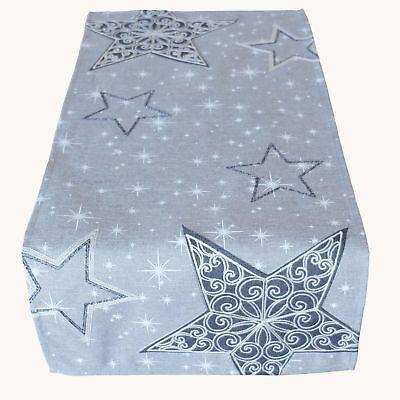 x 85 cm Tischdecke Weihnachten Sterne hellgrau silber kurz (Kurze Tischläufer)