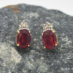 10k-Yellow-Gold-Estate-Ruby-amp-Diamond-Post-Earrings
