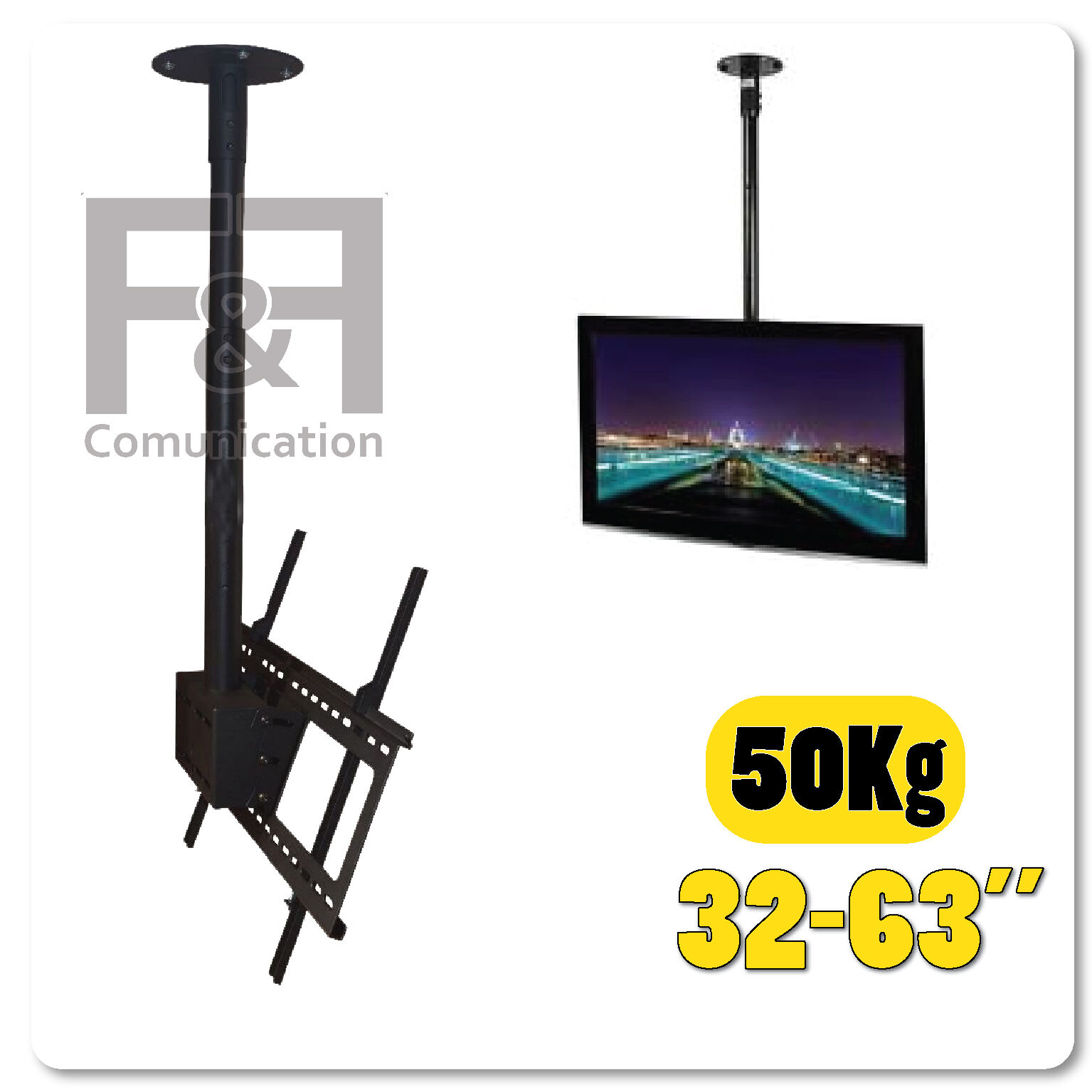 STAFFA SUPPORTO A SOFFITTO TV LED INCLINABILE REGOLABILE  DA 32 A 63 POLLICI
