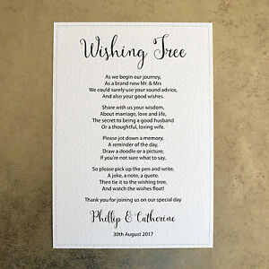 A4 Personalised Wedding Sign - Wishing Tree - 260gsm Hammer Card