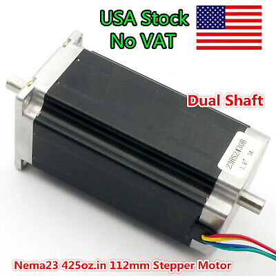 At Us Nema23 57 Stepper Motor Dual Shaft 425oz-in 112mm 3.0a Cnc Lathe Milling