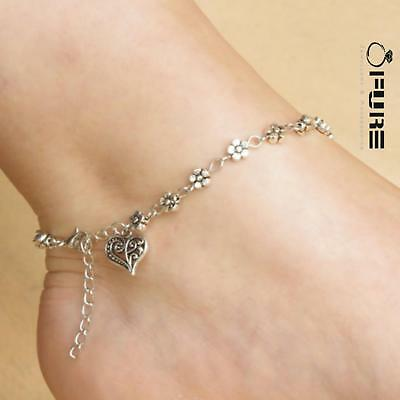 Women Sterling Silver Plated Barefoot Beach Heart Foot Anklet  Ankle Bracelet