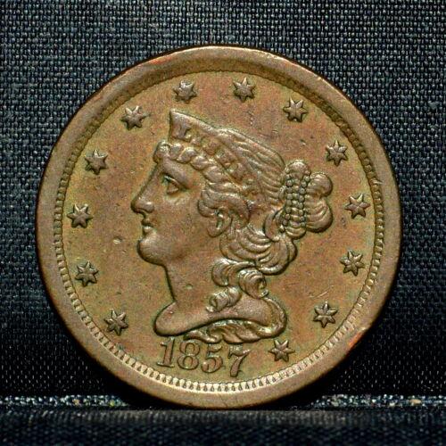 1857 BRAIDED HAIR HALF-CENT ✪ CH-XF EXTRA FINE ✪ 1/2C SCARCE COIN U20 ◢TRUSTED◣