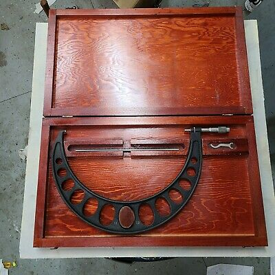 Vintage Brown Sharpe 11 - 12 Outside Micrometer Wnice Wood Box