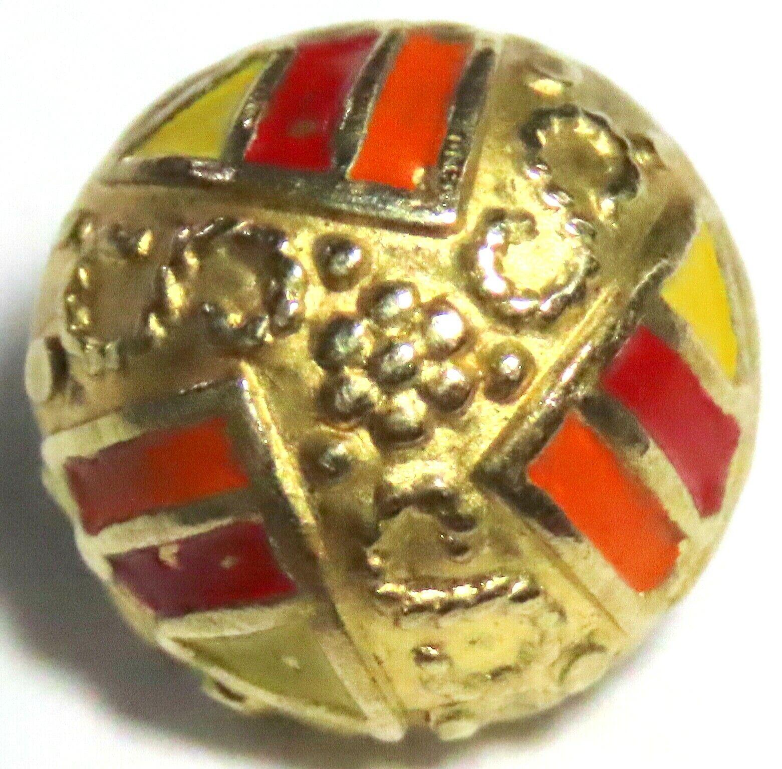 ANTIQUE 1900-1920 S ART DECO GILT BRASS BUTTON W/RED, ORANGE YELLOW ENAMEL - $1.40