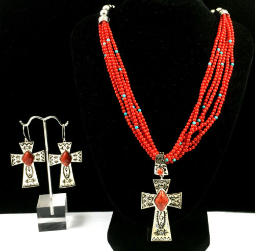 Gorgeous Southwestern Sterling Silver Coral Necklace w/Matching Earrings