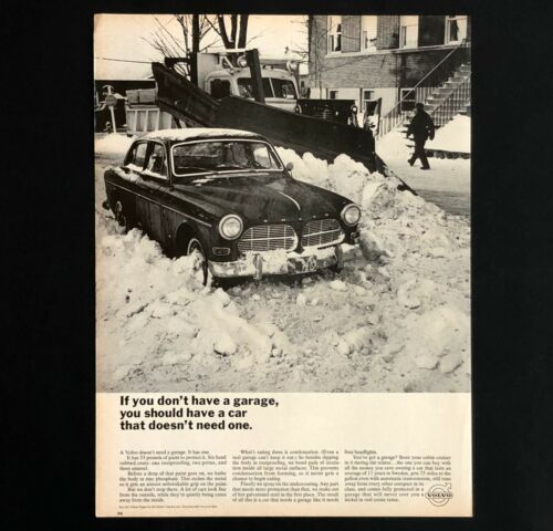 1966 Volvo Advertisement Doesnt Need A Garage Snow Plow Car Vintage Print AD