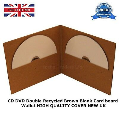 100 CD DVD Double Card board Wallet Recycled Brown Blank NEW HIGH QUALITY COVER