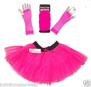 GIRLS TUTU SKIRT SET 2 SIZES  4-7 & 8 - 13 LEGWARMERS & FISHNET GLOVES 9 COLOURS