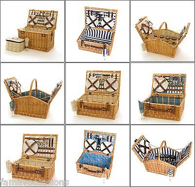 WICKER PICNIC HAMPER BASKET 6, 4 AND 2 PERSON WICKER PICNIC HAMPER BASKET
