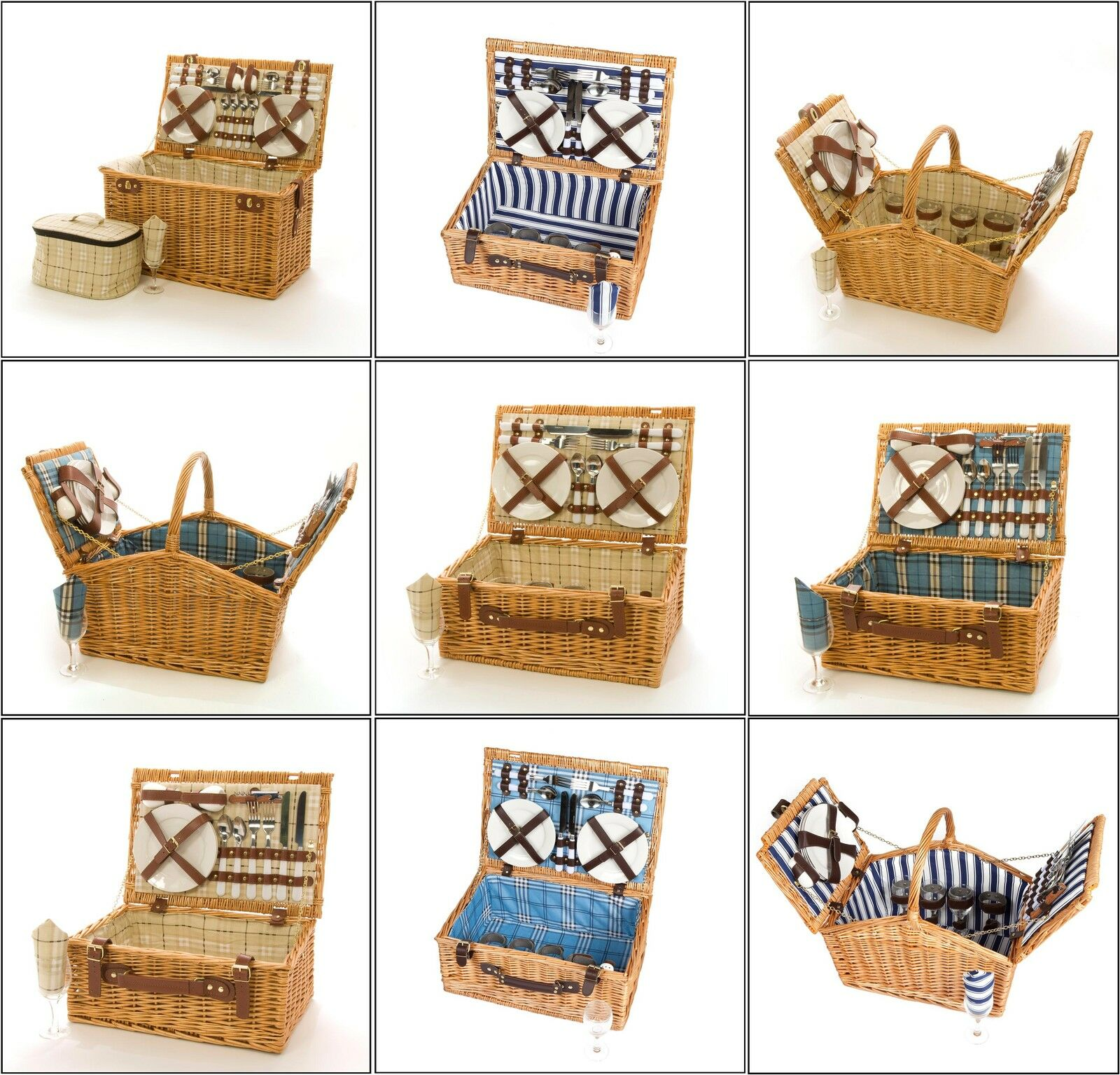Wicker Picnic Hamper Basket 6, 4 And 2 Person Factory Seconds Picnic Basket