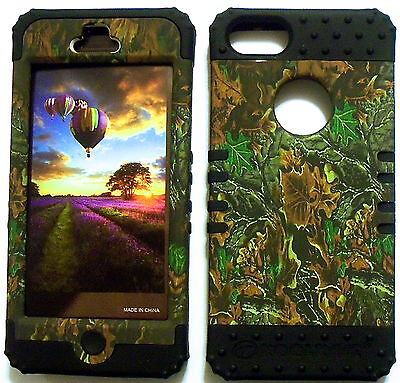 Camo Green On Black Skin Hybrid Apple Iphone 5 Rubber Hard Protector Cover Case