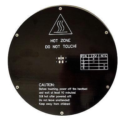 Rostock 3d Printer Heated Bed - 220mm Round X 3mm Aluminium Heatbed - 12v - Alu