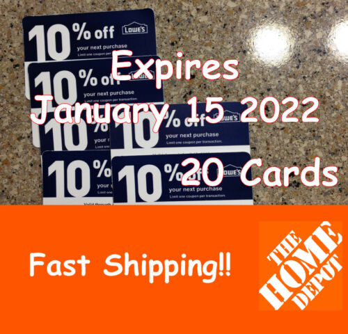 Twenty (20) 10% discount cards for Home Depot Only Exp January 15, 2022
