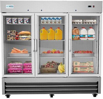 81 3 Glass Door Commercial Reach In Refrigerator Cooler 72 Cu. Ft. Led Lights