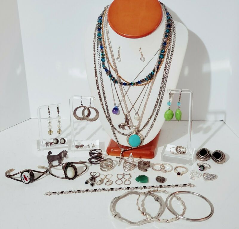 Sterling Silver 925 Jewelry Lot Necklaces, Bracelet, Earrings, Rings, 290 grams.