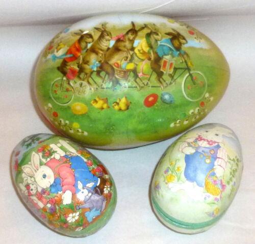 3 Vintage Germany Paper Mache Easter Eggs Bicycle Bunnies & Mama Gardener