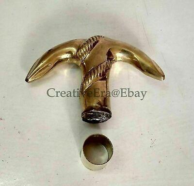 Brass Anchor Designer Head Handle Walking Stick Vintage Style FOR Wooden Cane