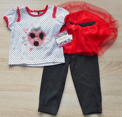 Baby 💕 Mädchen 💕 Sommer Kleid 💕 Set 2tlg 💕 MARIENKÄFER 💕Hose+TUTU 💕 86/92