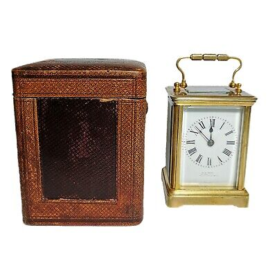 Antique French Brass Carriage Clock by J. C. Vickery with Leather Travel Case