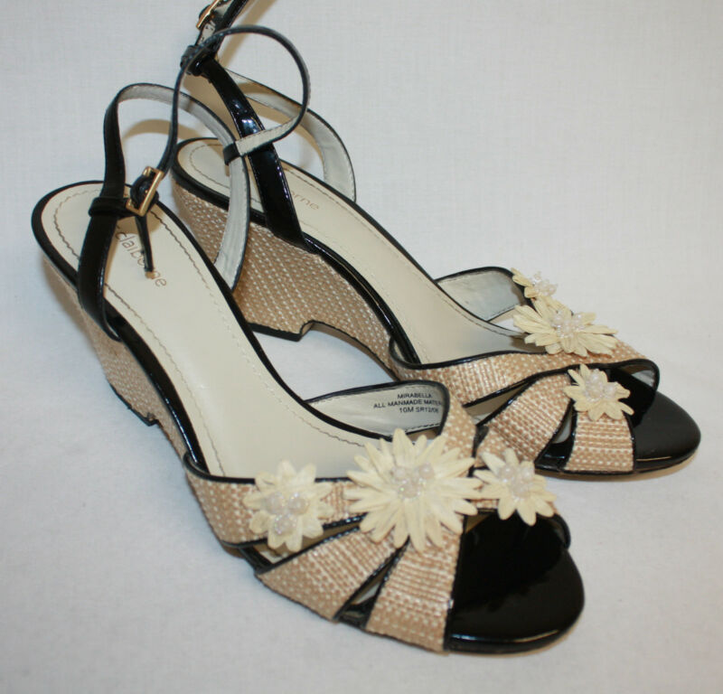 Womens Ladies Liz Claiborne Natural Black Flower Embellished Wedge Heels Sz 10M
