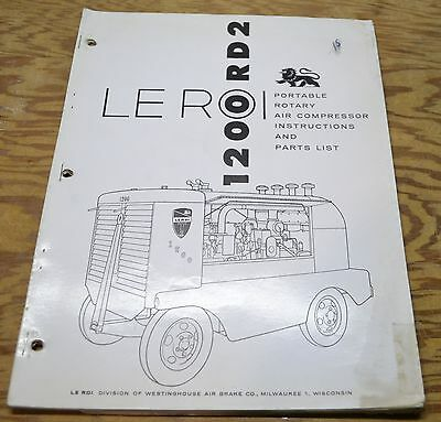 Le Roi 1200rds Portable Air Compressor Instructions And Parts List Leroi