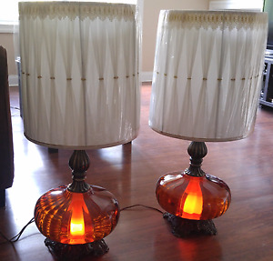 Matching antique globe lamps with nightlight