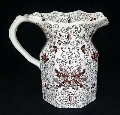 LARGE Masons BOW BELLS PITCHER Jug 32 ounce Brown Floral 6.75