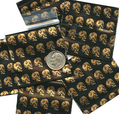 100 Gold Skulls Apple Baggies 2 X 2 In. Reclosable Ziplock Bags 2020