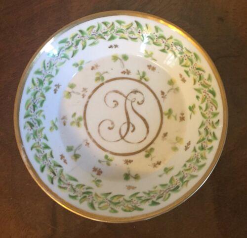 Antique 18th c. Old Paris Porcelain Locre Saucer Dish Sprig Cornflower Monogram