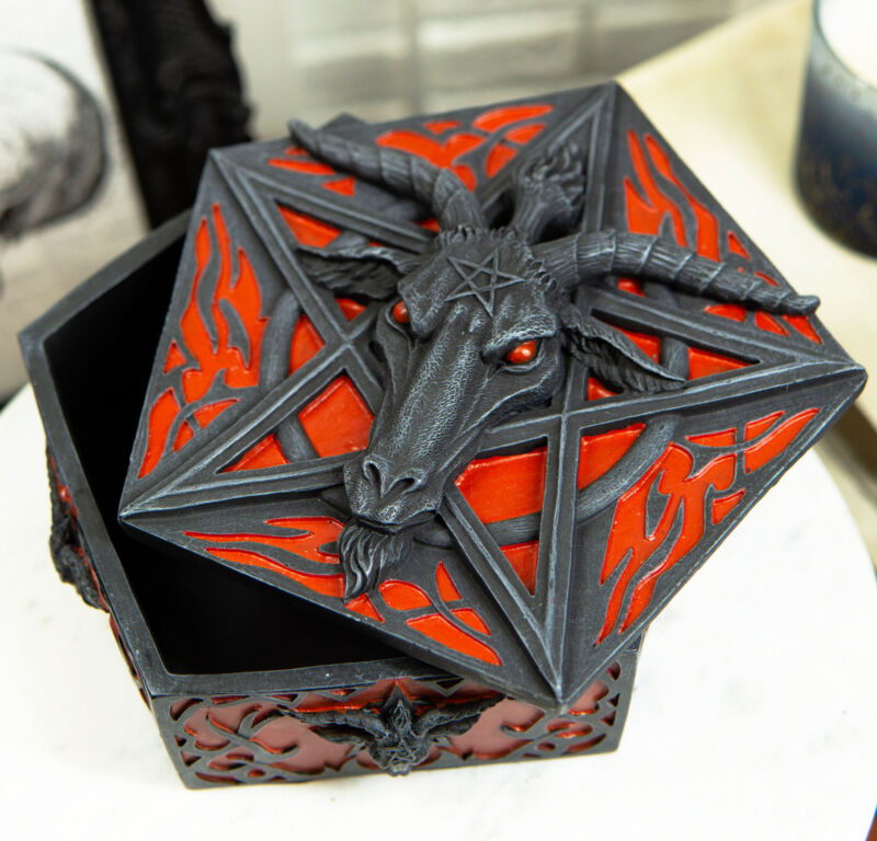 Ebros Red Gothic Pentagram Sabbatic Goat Baphomet Satan Decorative Jewelry Box