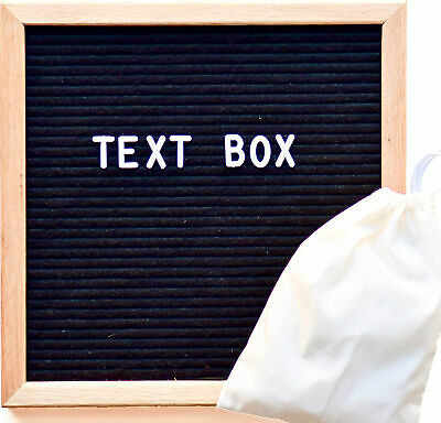 """Felt Letter Board 12""""x12"""" Black Frame 300 White Letters/Numbers - Text Box"""