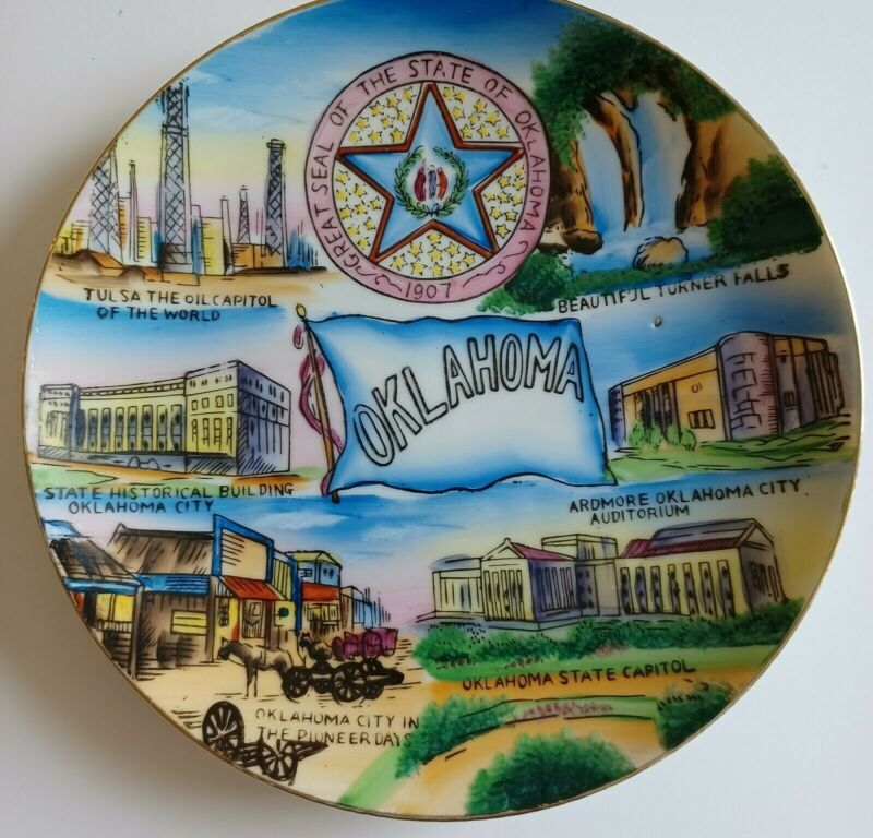 """Vintage State of Oklahoma Travel Souvenir Ceramic Plate 8"""" Hand Painted Wales"""