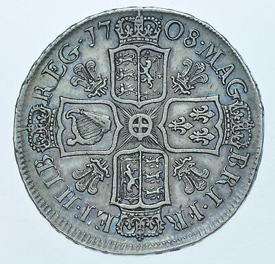 SCARCE 1708 HALFCROWN, PLUMES, BRITISH SILVER COIN FROM ANNE GVF