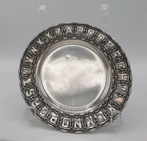 "Antique Gorham Sterling Silver ABC Alphabet Plate, 7 3/8"""