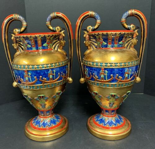 "Pair of Veronese Egyptian Revival Vases 16"" High"