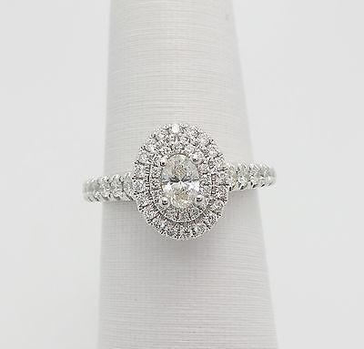 Vera Wang LOVE 3/4CT Oval Cut Diamond Halo Engagement Wedding Ring 14K Gold