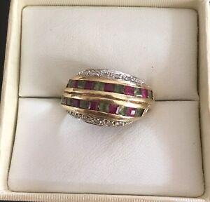 9ct Gold Ruby's, Peridot's & Diamonds 💎 Band Ring 💍