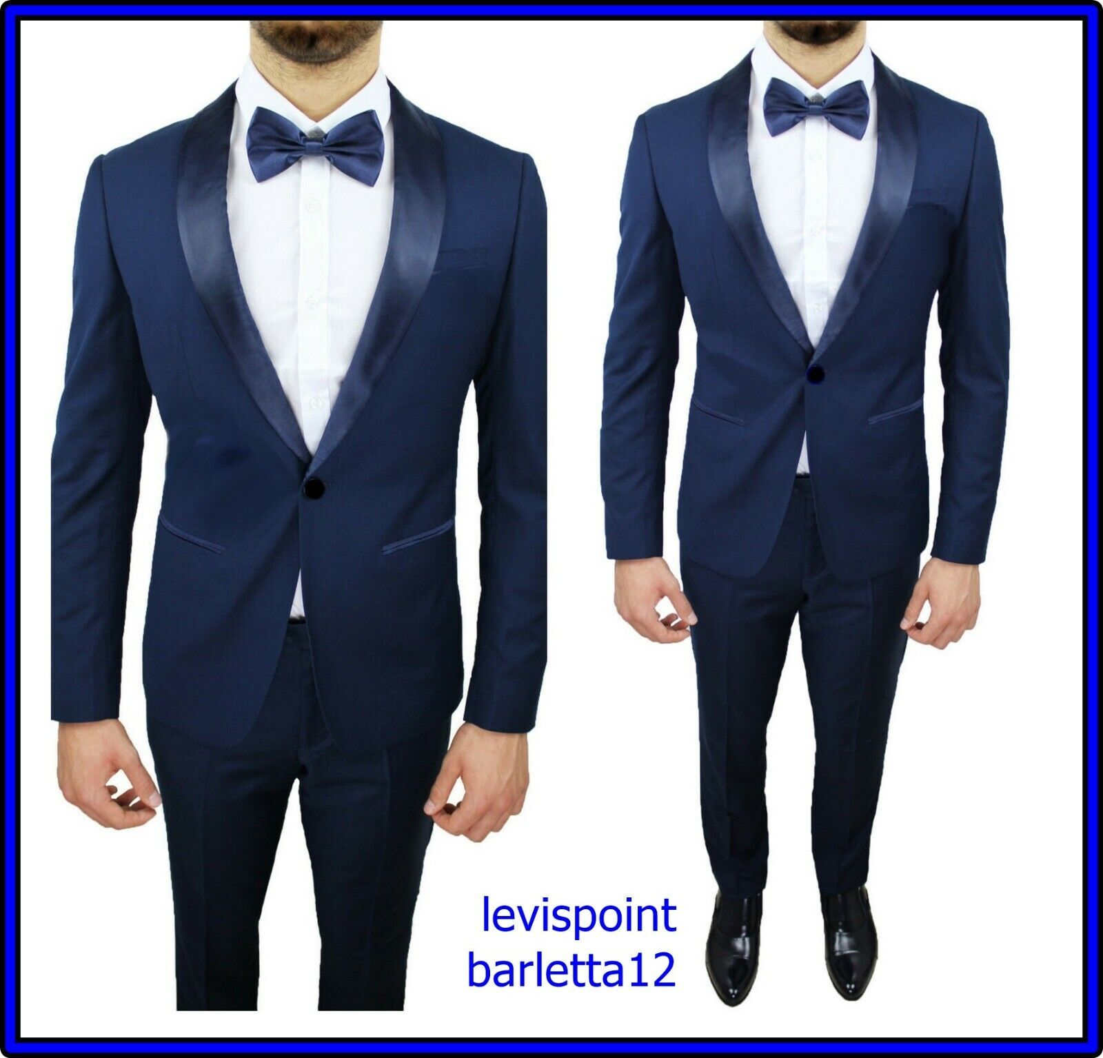 Abito completo smoking blu da uomo slim fit elegante cerimonia raso 50 52 54