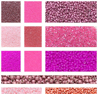 15/0 Japanese Shades of Pink Round Glass-Seed Beads-28 Grams-CHOOSE COLOR!!!