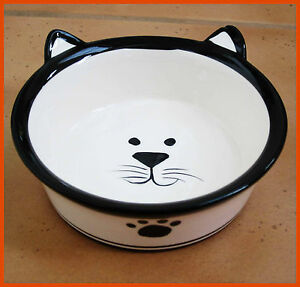 Porcelain Pet Bowl Feeder (New) Cat Ceramic Dispenser Animal Dish Food Drink