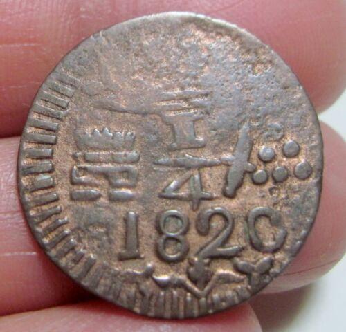 1820 (COLOMBIA ) 1/4 REAL (COPPER) -- SANTA MARTA -- scarce--