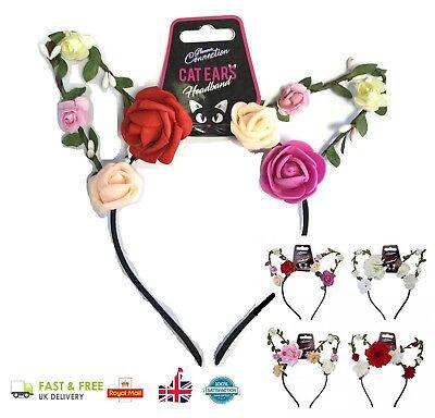 CAT EARS Hen Night Ladies Girls Hot Fancy Dress Party Flower Alice Band - Alice In Wonderland Flower Costume