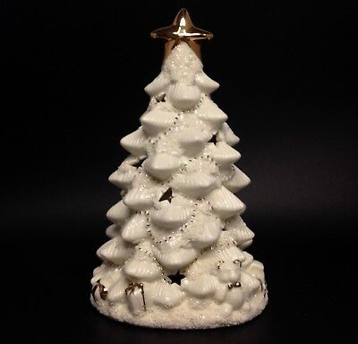 """White Christmas Tree Lamp Table Top Porcelain Holiday Winter Gift Decor 9"""" Tall"""