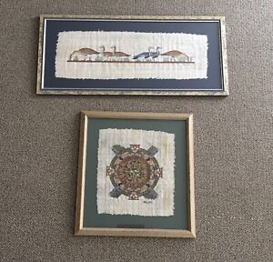 2 Egyptian Papyrus Pictures (sold as pair)