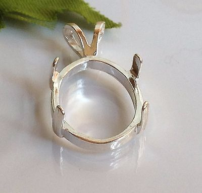 Sterling Silver Oval Cabochon Pre-Notched Pendant Setting (6x4-22x10mm)