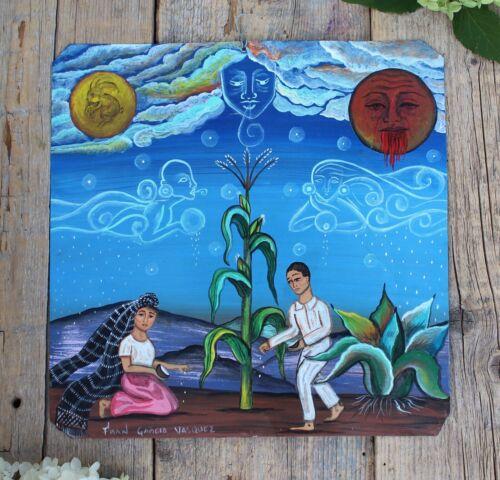 Tin Retablo Planting Corn Spirit Ancestors Hand Painted Oaxaca Mexican Folk Art
