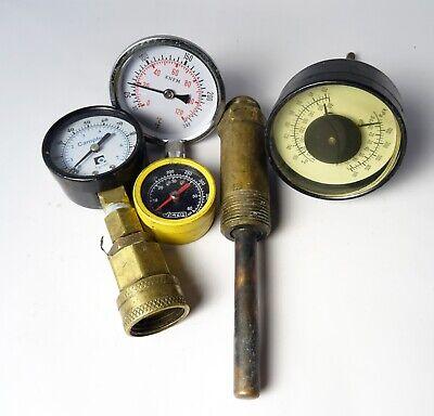 Lot Of 4 Vintage Pressure Gauges Various Sizes Victor Steampunk
