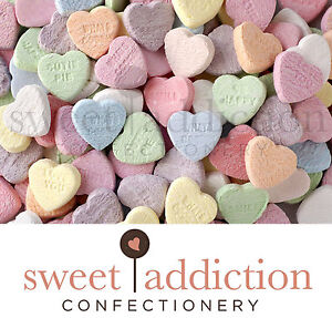 1kg Conversation Hearts - Bulk Lollies Wedding Candy Buffet Love Sweet Addiction