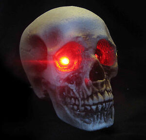 Lighted Human Skull Red Eyes Scary Halloween Party Haunted House Prop